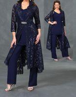 Wholesale silver sequin pants suit resale online - 3 Pieces Mother of The Bride Pants Suit with Lace Sleeves Jacket Ankle Length Formal Evening Gowns Plus Size Wedding Guest Dresses
