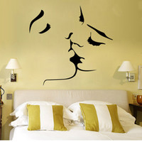 Wholesale quotable wallpapers for sale - Group buy Home Removable Vinyl Love Couple Wallpaper Kissing Lover Man Women Modern Wall Decals Home Bedroom Decoration