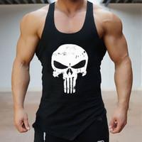 мужские рубашки оптовых-Skull Gym T Shirt Хлопковые мужские майки с барьерами Майки для бодибилдинга Тренировки для фитнеса Мужская футболка без рукавов
