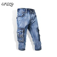 новые желтые джинсы для мужчин оптовых-Biker jeans 2019 New Men's Retro Washed Old Men's Multi Pocket Yellow Cropped Denim Shorts Stretch Denim Shorts