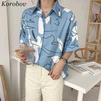 Wholesale korean fashion kimono online - Korobov Harajuku Printing Blouse Korean Causal Shirt Summer Short Sleeve Turn down Collar Shirts Woman Blusas Tops Q190523