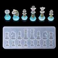 ingrosso diy uv-Stampi in silicone a forma di scacchi internazionali Argilla fai da te Stampi per ciondoli in resina epossidica UV per gioielli