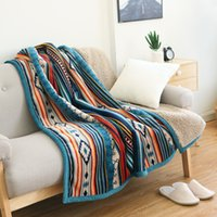 New Soft Flannel blankets Fleece Sherpa Bohemian Couch Throw Blanket For Sofa Portable Car Travel Cover Blanket