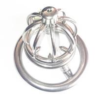 уретральный штекер оптовых-Клетка крана нержавеющей стали для клеток штепсельной вилки пениса прибора целомудрия людей мужских с катетером Xcxa282-2 кольца шипа уретральным