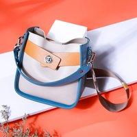 Wholesale first lady handbags resale online - Genuine Leather Handbags New Messenger Bag The First Layer Of Leather Contrast Color Bag Wide Shoulder Strap Shoulder Ladies