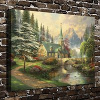 Wholesale kinkade art resale online - Thomas Kinkade Dogwood Chapel Pieces Canvas Prints Wall Art Oil Painting Home Decor Unframed Framed