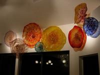 badspiegel kostenloser versand großhandel-Schöne Wand-Kunst-Dekoration bunte geblasenem Glas Handgefertigte Startseite Dekorative Murano Blumen-Glasplatten für Wand-Dekor