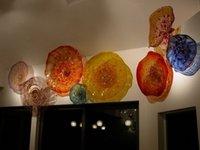 ingrosso lastre di vetro soffiato arte della parete-Bella Wall Art decorazioni colorate lastre di vetro soffiato a mano fiori di vetro di Murano casa decorativi per la decorazione della parete