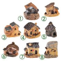 ingrosso miniature di giardino fiabesco-Carino Mini Stone House Fairy Garden Miniature Craft Micro Cottage Paesaggio Decorazione per DIY Resin Artigianato 8 stili MMA1634