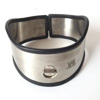 Wholesale padlock sex resale online - Stainless Steel Metal Neck Sheath Slave Collar Ring for Men and Women Alternative Sex Toys SM Bondage Flirting with Padlock