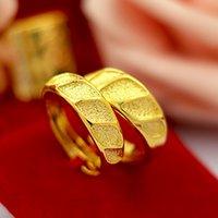 pirinç halka plaka toptan satış-Jindian 1: 1 Vietnamlı Sagin çiftler çifti elmas pirinç altın kaplama pürüzsüz cilalı yüzük İmitasyon altın toptan
