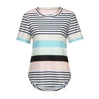 ingrosso ropa mujer blusas-Top estivo a righe da donna blusas femininas elegante T-shirt a manica corta da donna T-shirt casual allentate da donna t-shirt ropa mujer