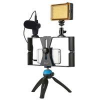 головка видео штатива оптовых-PULUZ Smartphone Video Rig + LED Studio Light + Video Microphone Mini Tripod Mount Kits with Cold Shoe Tripod Head for iPhon