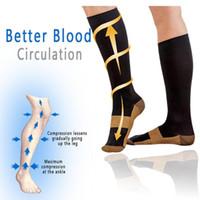 Wholesale nylon compression socks resale online - New Copper Infused Compression Socks mmHg Graduated Men Women Patchwork Long Socks