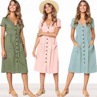 meilleures robes de genou achat en gros de-Les femmes v-cou bouton robes jupes d'été à manches courtes robe vintage bouton décoration jupe poche genou filles jupe meilleur C42302