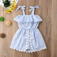 Wholesale baby girl ruffle skirt dress online - Ins Baby Girls Elasticity Tunic Dress Children Flat Shoulder Ruffle Skirt Princess Sleeveless Lace Bowknot Romper Jumpsuit Pantskirt A52202