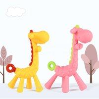 baby giraffe cartoon großhandel-Mode Cartoon Giraffe Form Baby Beißring Kauen Spielzeug Molaren Stange Silikon Zähne Stick Neue Mode Baby Cartoon Beißring