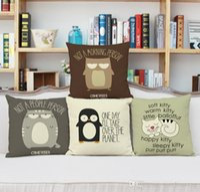 baykuş kanepe toptan satış-Modern basit Amerikan kanepe keten yastık kılıfı Karikatür baykuş penguen vs desen yastık kılıfı Ev ofis yastık kılıfı