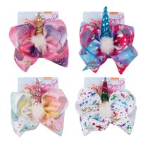 Wholesale unicorn headband for sale - JOJO bow Unicorn hairpin INS inch baby girl hair Bowknot barrettes Angel HandsDesign Clippers Girls Hair Clips SIWA Hair Accessory AAA1952