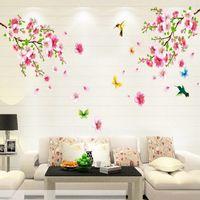 tv arka planı ev toptan satış-Moda 1SET Sıcak 60x90cm Pembe Şeftali Çiçeği Kelebek Kuş Duvar Sticker TV Arkaplan Dekorasyon Ev Dekorasyonu Aksesuarları