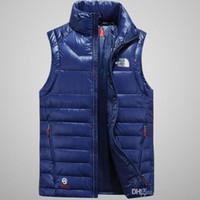 ingrosso giacche lucide-New Winter Men Top Quality Glossy Down Felpe NORTH Giacche da campeggio Antivento Sci Warm Down Coat Outdoor Casual Felpa sportiva con cappuccio FACE vest