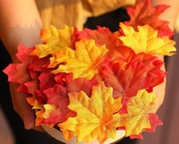 ingrosso foglie artificiali per matrimoni-500Pcs Home Decora Assorted Misto Autunno colorato Artificiale 8CM Foglie d'acero per Matrimoni Eventi e Decorazione