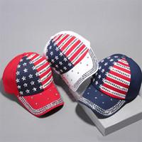 trump 2020 Rivet Caps 3colors President Hats Make America Great Diamond Bling Star Flag baseball cap Travel Beach Sun hat Unisex DHL JY545