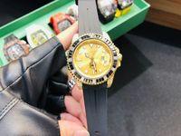 Wholesale mens black platinum watch for sale - Group buy Hot Sale New Luxury Mens watches Full Diomond Rainbow Bezel SUB LN LB Rubber Starp mechanical Automatic wristwatch