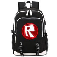 tasche mode kinder großhandel-HEIßER SPIEL Cartoon Roblox rucksack Student Schultaschen Mode Freizeit Laptoptasche für Jugendliche USB Lade Geschenk Für Kinder