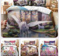Wholesale 3d unicorn bedding for sale - Unicorn Bedding Set Watercolor Print Bed Set Rainbow Duvet Cover Pillow Cases Twin Full Queen King