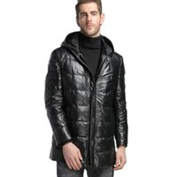 Wholesale men s hooded leather outerwear resale online - mens down jacket hooded long outerwear coats genuine leather sheep skin custom made black leather coats