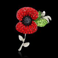 ingrosso bandiera britannica britannica-28 Tipi Cuore di cristallo Fiore di papavero Bandiera nazionale Union Jack Spilla Pins La British Legion Brooch Corsages per la giornata della memoria del Regno Unito