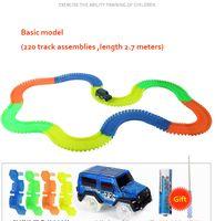 vehículos militares tanque al por mayor-Luminosa juguete niño vagón de ferrocarril montaje de los niños juguetes educativos de ferrocarril eléctrico de carreras de coches juguetes diy