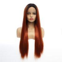 perucas castanhas escuras venda por atacado-Ombre rendas frente perucas de cabelo sintético em linha reta 1B / 30 cor perucas simulação sintética do cabelo humano perucas ombre raízes escuras e Auburn