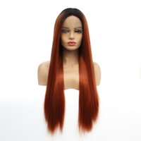 haarfarbensimulation großhandel-Ombre synthetische Lace Front Perücken glattes Haar 1B / 30 Farbe synthetische Perücken Simulation Menschenhaar Ombre Perücken dunklen Wurzeln und Auburn