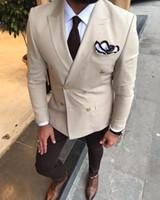 klasik smokin 44 toptan satış-Bej erkek Vintage Ceketler Suits Eğlence Düğün Smokin Custom Made Mens Örgün Parti İş Damatların Takım Blzaers Tek Parça