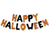 decoraciones de fiesta negro naranja al por mayor-Happy Halloween Balloon Foil Letter Balloon para decoración de fiesta Globos negros y naranjas Artículos de fiesta JK1909