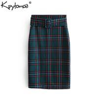 1b1175b3d Vintage Elegant Plaid Belted Pencil Midi Skirt Women 2019 Fashion Back  Zipper Vents Streetwear Ladies Skirts Casual Faldas Mujer Y19043002