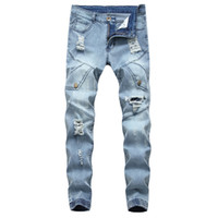 calça jeans pés venda por atacado-Homens Motociclista Jeans Buraco Rasgado Cor Azul Claro Monte de Pé Slim Fit Toda a Temporada Estilo Casual Calças Skinny