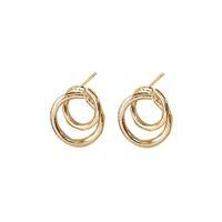 boucles d'oreilles rondes achat en gros de-Nouvelle arrivée géométrique double tour d'oreille ronde pour les femmes tendance cerceau or ruban plaquage alliage goutte boucle d'oreille bijoux cadeau