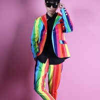 Wholesale performance clothing for singers for sale - Tide Colorful stripe male suit male costume jacket pants coat slim star show for Male singer dancer performance nightclub bar Star Clothing