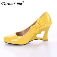 Wholesale spool toes for sale - 2019 Ladies Stiletto Big Size Women High Heels Strange Heart Heels Woman Pumps Bowtie Office Wedding Bridal white