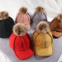 gorras de béisbol de invierno al por mayor-niños sombreros de invierno boysgirls de cordero terciopelo, además de terciopelo caliente gorras de béisbol de diseño de lujo del cubo del bebé muchachas de los sombreros del snapback los niños del sombrero del casquillo