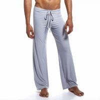 pijama tozlukları toptan satış-Pijama erkekler için seksi iç çamaşırı erkekler kravat tayt rahat ev pijama eğlence geniş ayaklar pijama erkek uyku alt roupas