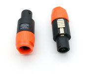 Orange Ring 4 Pole Speakon Plug Male Speaker Audio Cable Connectors