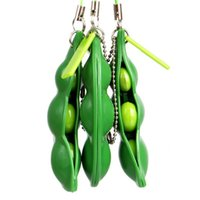 Wholesale stress beans resale online - Squeeze a Bean Keychain Fidget Soybean toy Finger Puzzles Focus Extrusion Pea pendant Anti anxiety Stress Relief EDC Decompression Toys sale