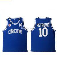 equipe de equipamentos de basquetebol venda venda por atacado-Colégio 10 Drazen Petrovic Jersey Universidade Homens Basketball Cibona Zagreb camisola da equipe azul respirável para o esporte Fãs Top qualidade à venda