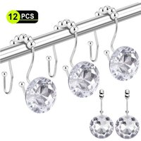 Wholesale curtain pole for sale - Group buy Shower Curtain Hooks Double Glide Shower Curtain Rings Stainless Steel Rustproof Hook Ring with Acrylic Crystal Rhinestones DHD205
