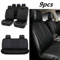estofamento de couro completo venda por atacado-9PCS Preto PU Car Leather Seat Cover Full Set Frente Verso Almofada do assento Mat Protector