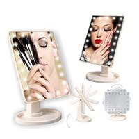 espejos plegables portátiles al por mayor-Make Up LED Mirror Pantalla táctil de rotación de 360 grados Make Up Cosmetic Folding Portable Compact Pocket With 22 LED Light Makeup Mirror RRA1490